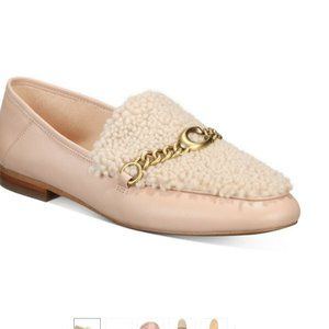 COACH Helena C Loafers  With Chain Leather Pale
